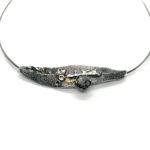Collar UNO plata, oro y diamante1