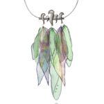 Collar CANOPEA plata mate y seda multicolor 1