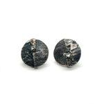 Pendientes UNO redondos grandes plata oxidada1