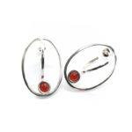 Pendientes SIDERAL-2 plata y ónix rojo1
