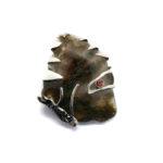 Broche PINO plata, granate y ágata musgo 1