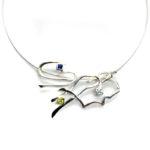 Colgante MARAÑA plata, zafiro, aguamarina y olivina